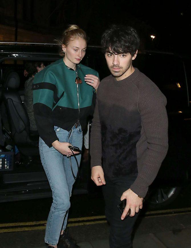 Sophie Turner and Joe Jonas - Leaving Delaunay Restaurant in London