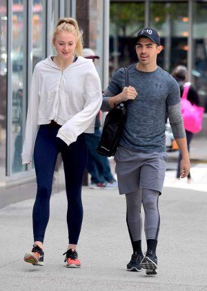 Sophie Turner and Joe Jonas Leaving the gym in Soho