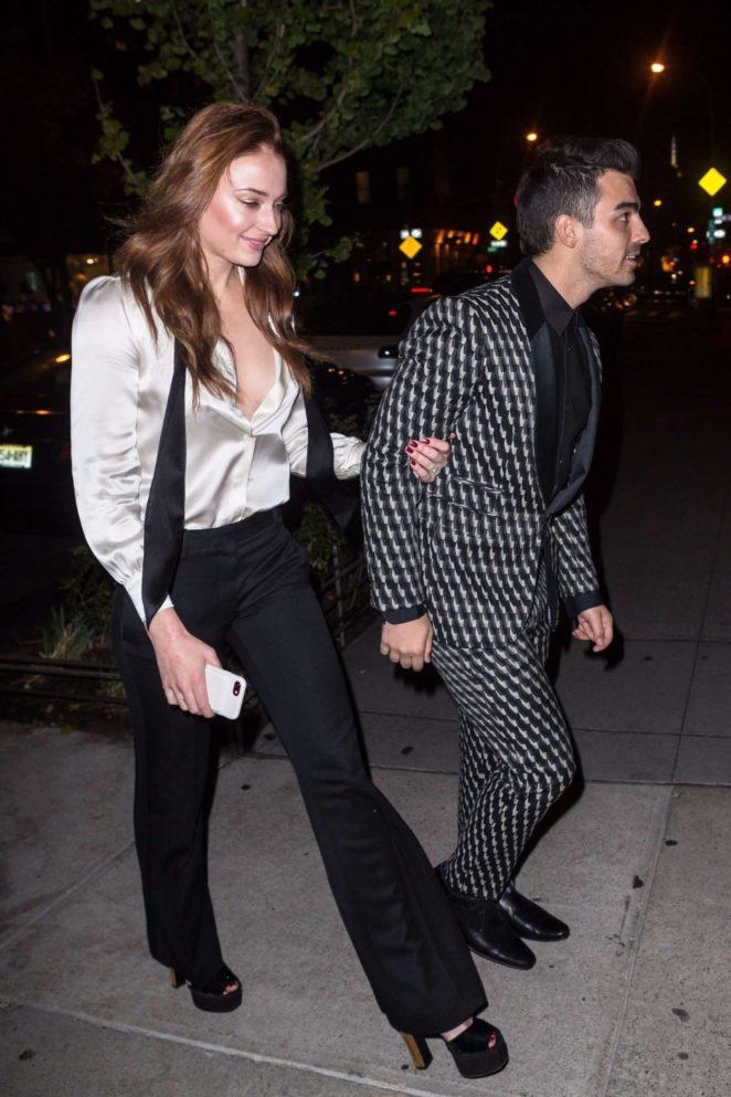 Sophie Turner and Joe Jonas - Leaving their engagement dinner in NY