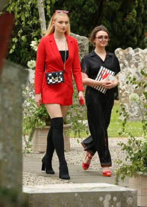 Sophie Turner and Maisie Williams - Arriving at Kit Harington and Rose Leslie wedding in Scotland