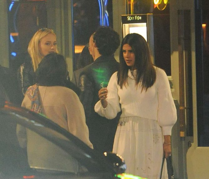 Sophie Turner and Priyanka Chopra at Sexy Fish Restaurant in London
