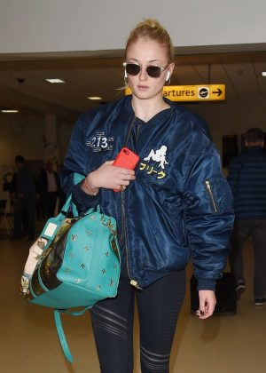 Sophie Turner - Arriving at Aberdeen Airport in Scotland