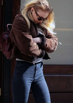 Sophie Turner in Jeans Out in New York City