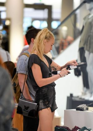 Sophie Turner in Jeans Shorts at The Grove Mall in Los Angeles