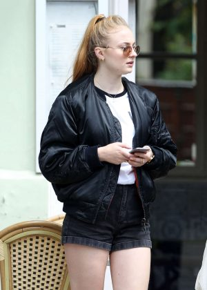 Sophie Turner in Jeans Shorts out in London