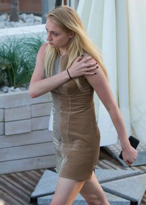 Sophie Turner in Mini Dress out for lunch in Cannes