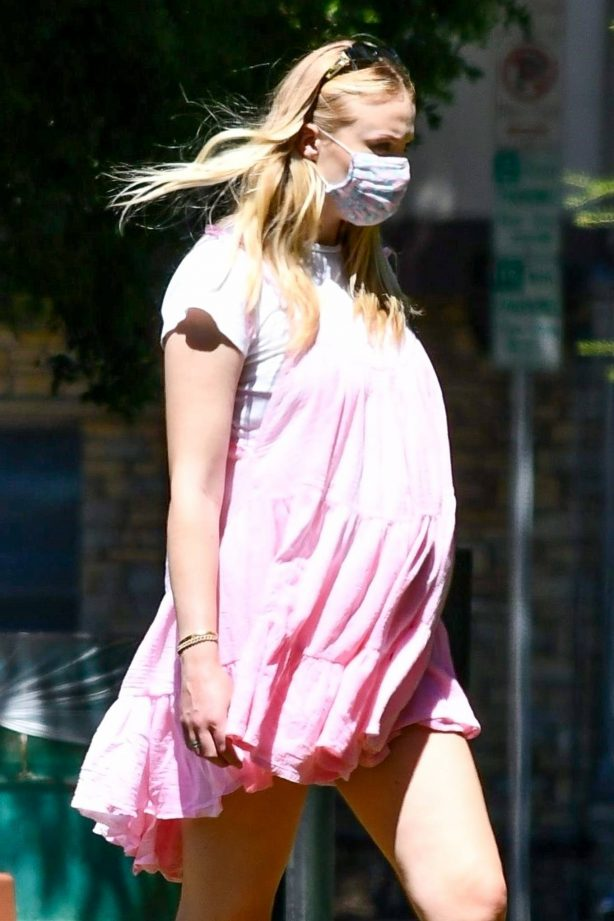 Sophie Turner in Pink Mini Dress and Joe Jonas - Go on a picnic with friends and family in Studio City