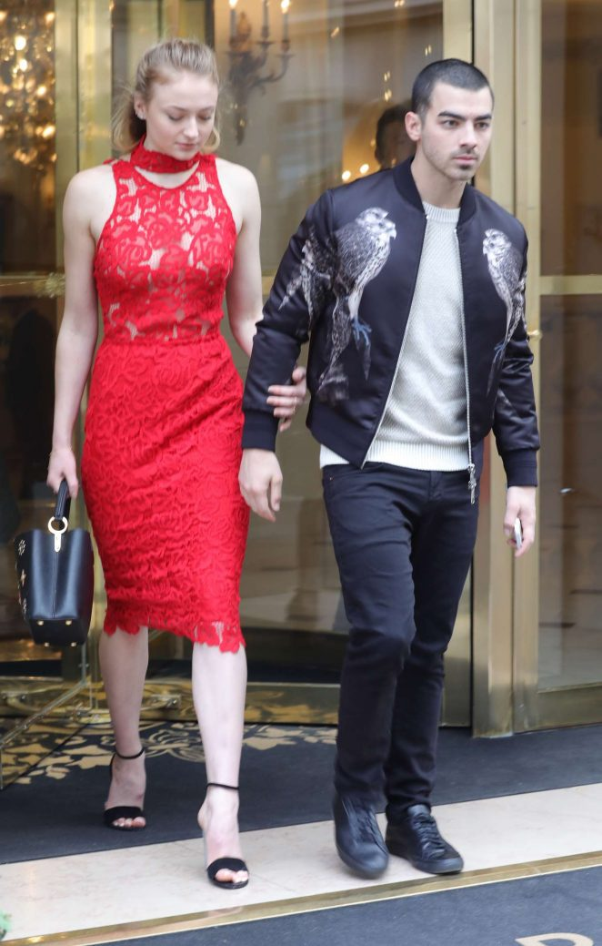 Sophie Turner in Red Dress Leaving the Bristol Hotel in Paris
