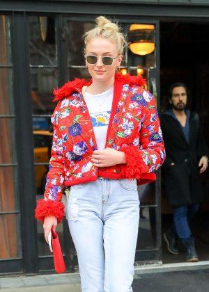 Sophie Turner in Red Flowered Jacket - Leaves her hotel in NYC