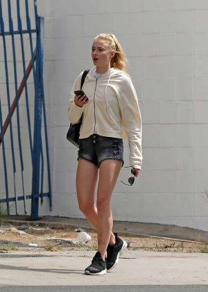 Sophie Turner in Shorts out in Venice Beach