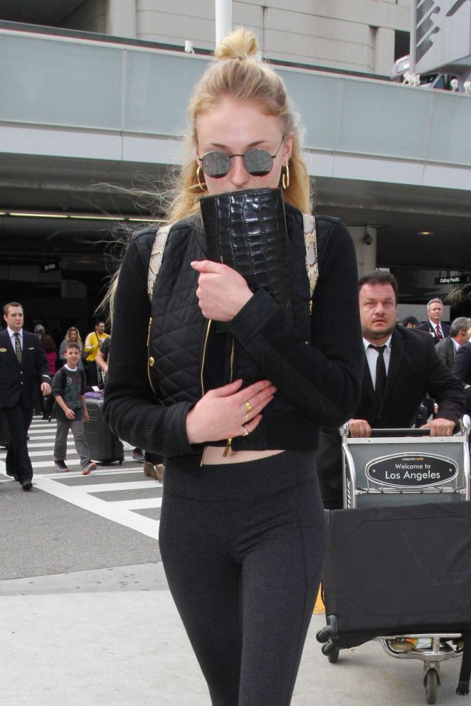 Sophie Turner in Tights at Los Angeles International Airport