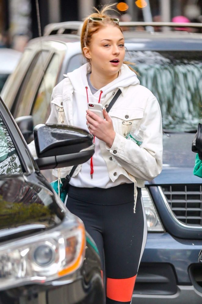 Sophie Turner in Tights out in Soho