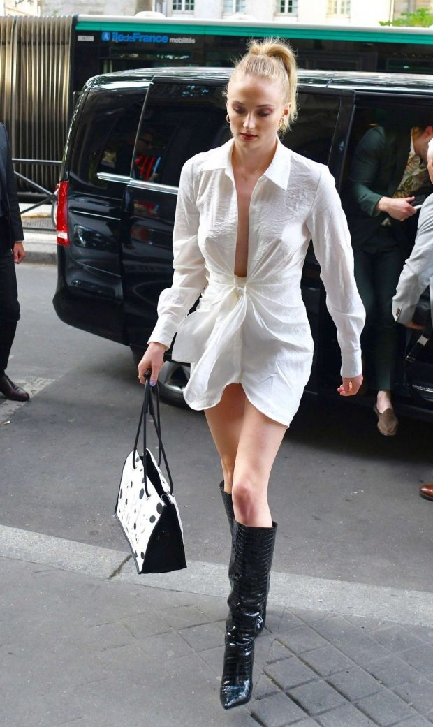 Sophie Turner in White Dress - Out and about in Paris