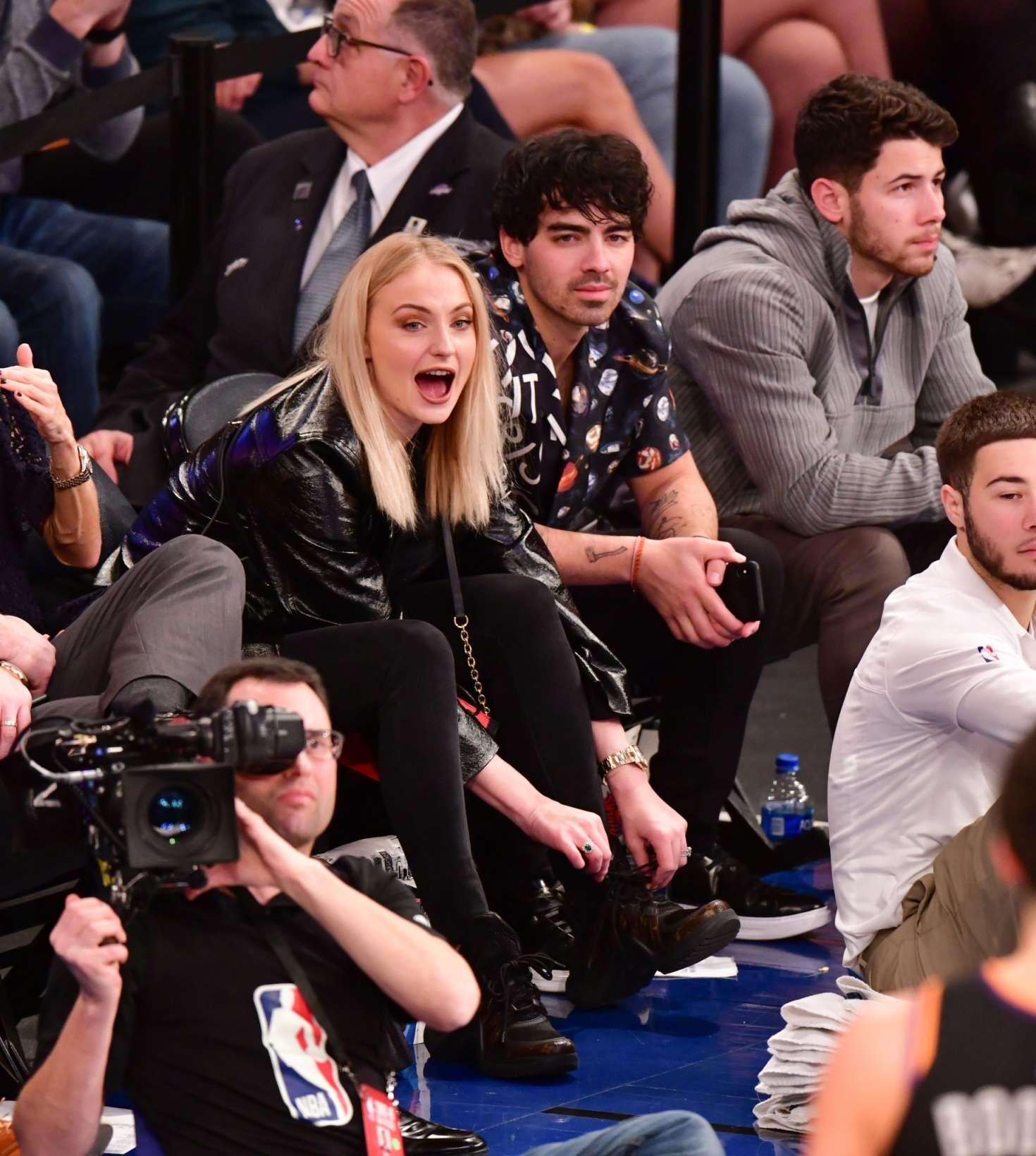 Sophie Turner, Joe and Nick Jonas - Phoenix Suns v New York Knicks Game in New York City
