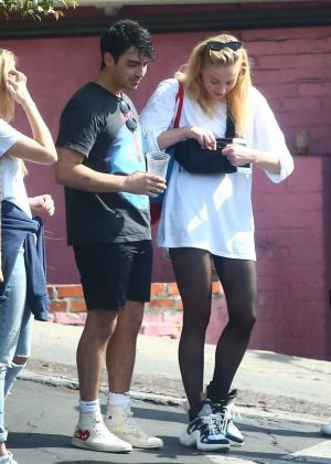 Sophie Turner - Leaves the gym with friends in Hollywood