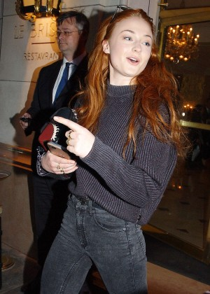 Sophie Turner in Jeans Leaving Bristol Hotel in Paris