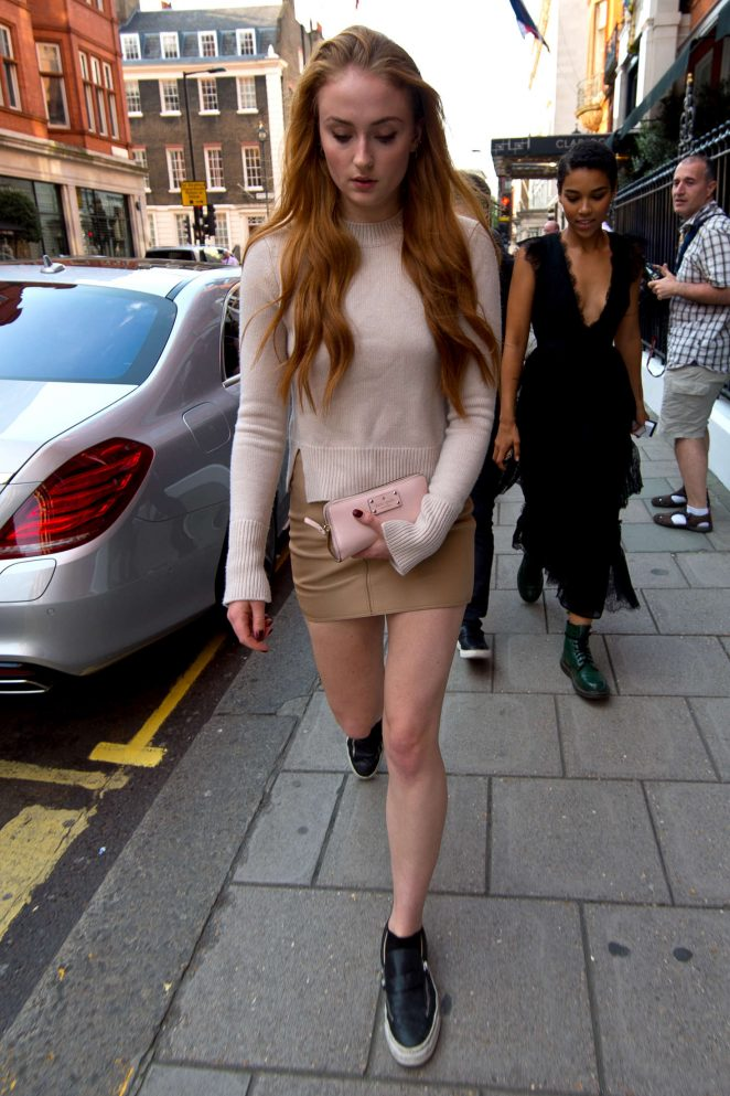 Sophie Turner in Mini Skirt Out in London