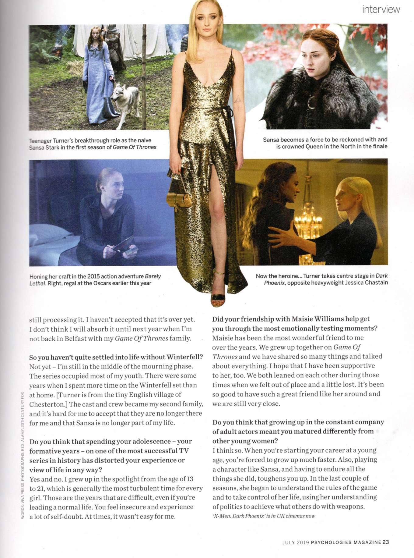 Sophie Turner 2019 : Sophie Turner: Psychologies Magazine 2019-03