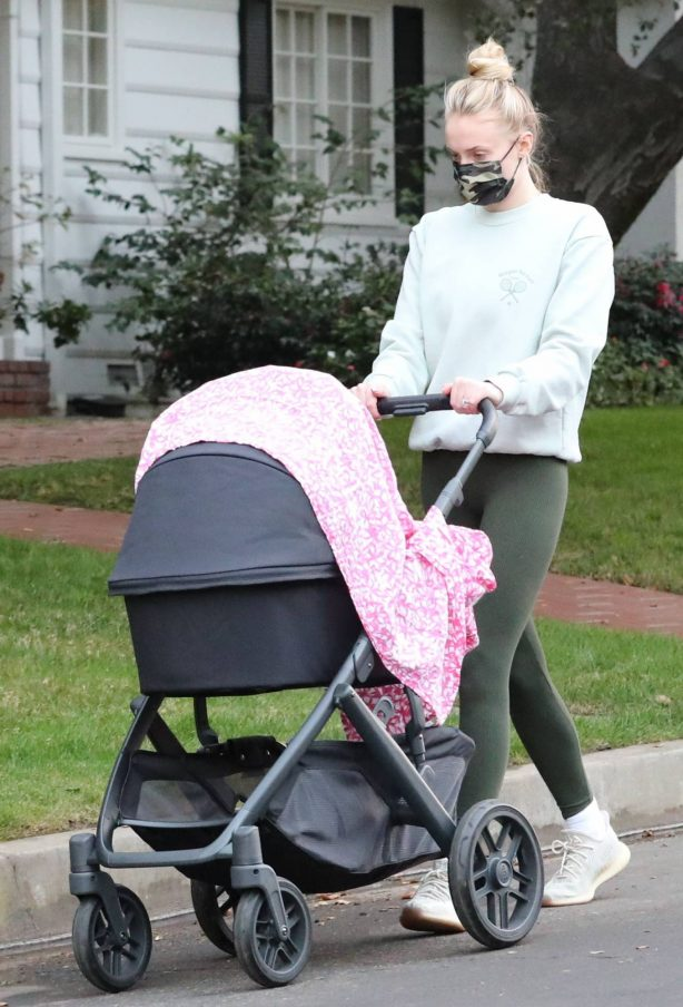 Sophie Turner - With her baby Willa out for a walk in Los Angeles