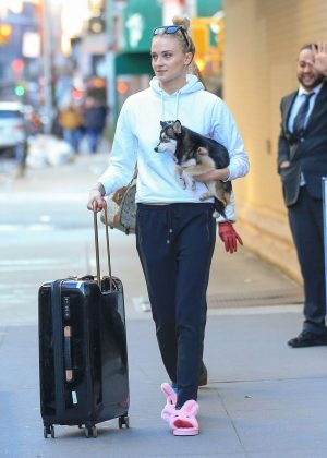 Sophie Turner with her dog out in NYC