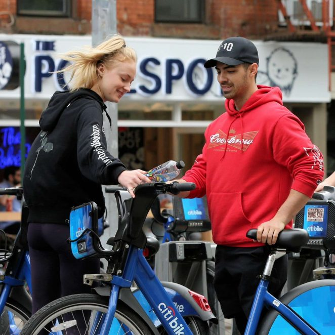 Sophie Turner with Joe Jonas Riding Citibikes in Soho