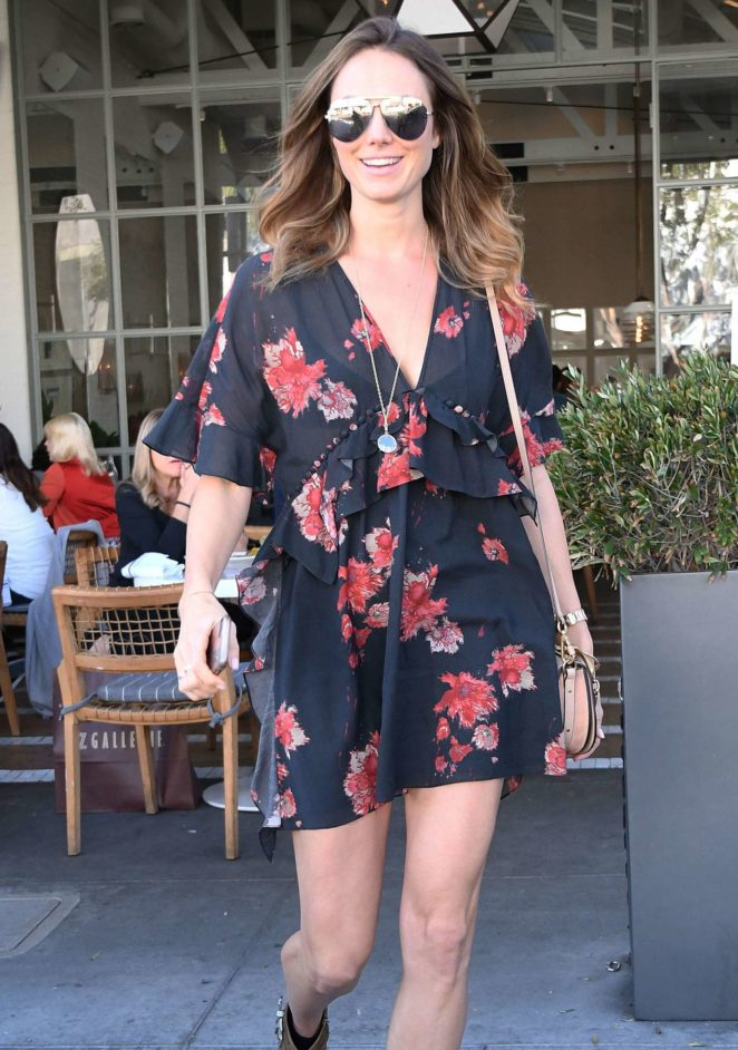 Stacy Keibler in Floral Mini Dress Out in Beverly Hills