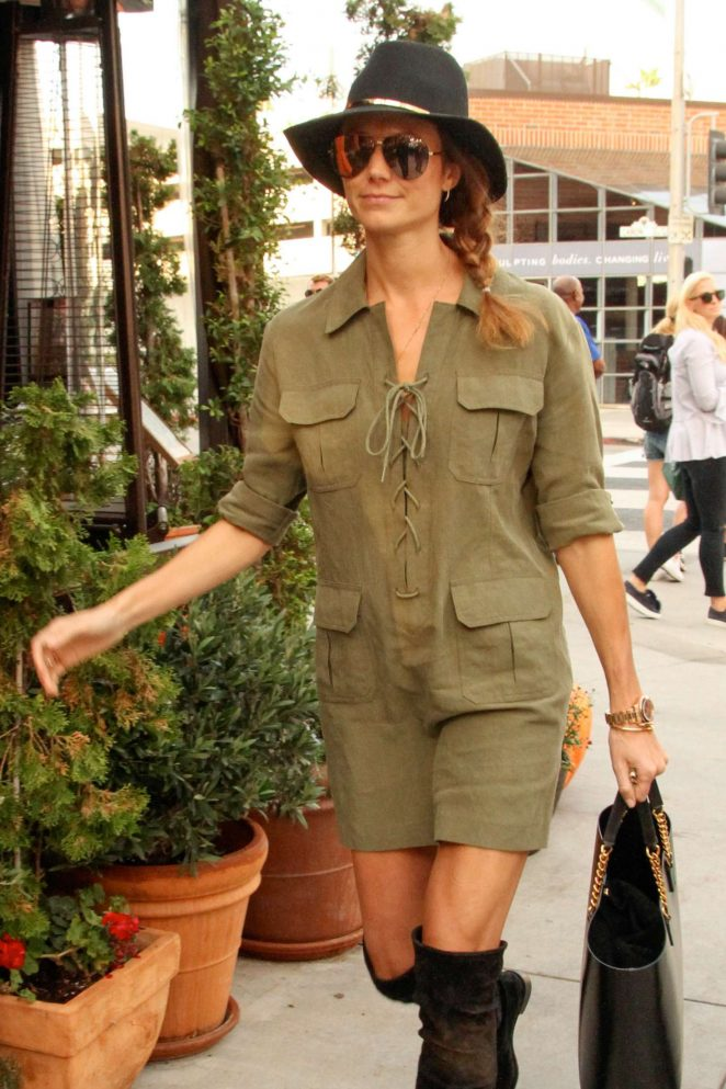 Stacy Keibler in Mini Dress at Via Alloro in Beverly Hills