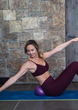 Stacy Keibler in Tights Workout - Social Media Pics