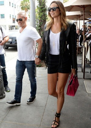 Stacy Keibler in Shorts Out for Lunch in LA