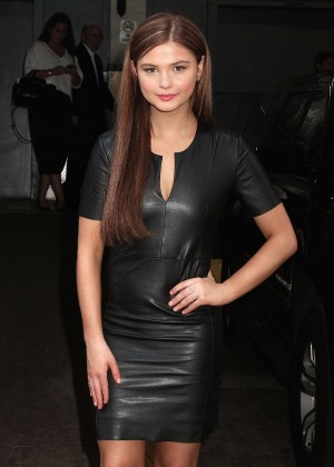 Stefanie Scott in Leather Mini Dress at 'HuffPost Live' in NYC