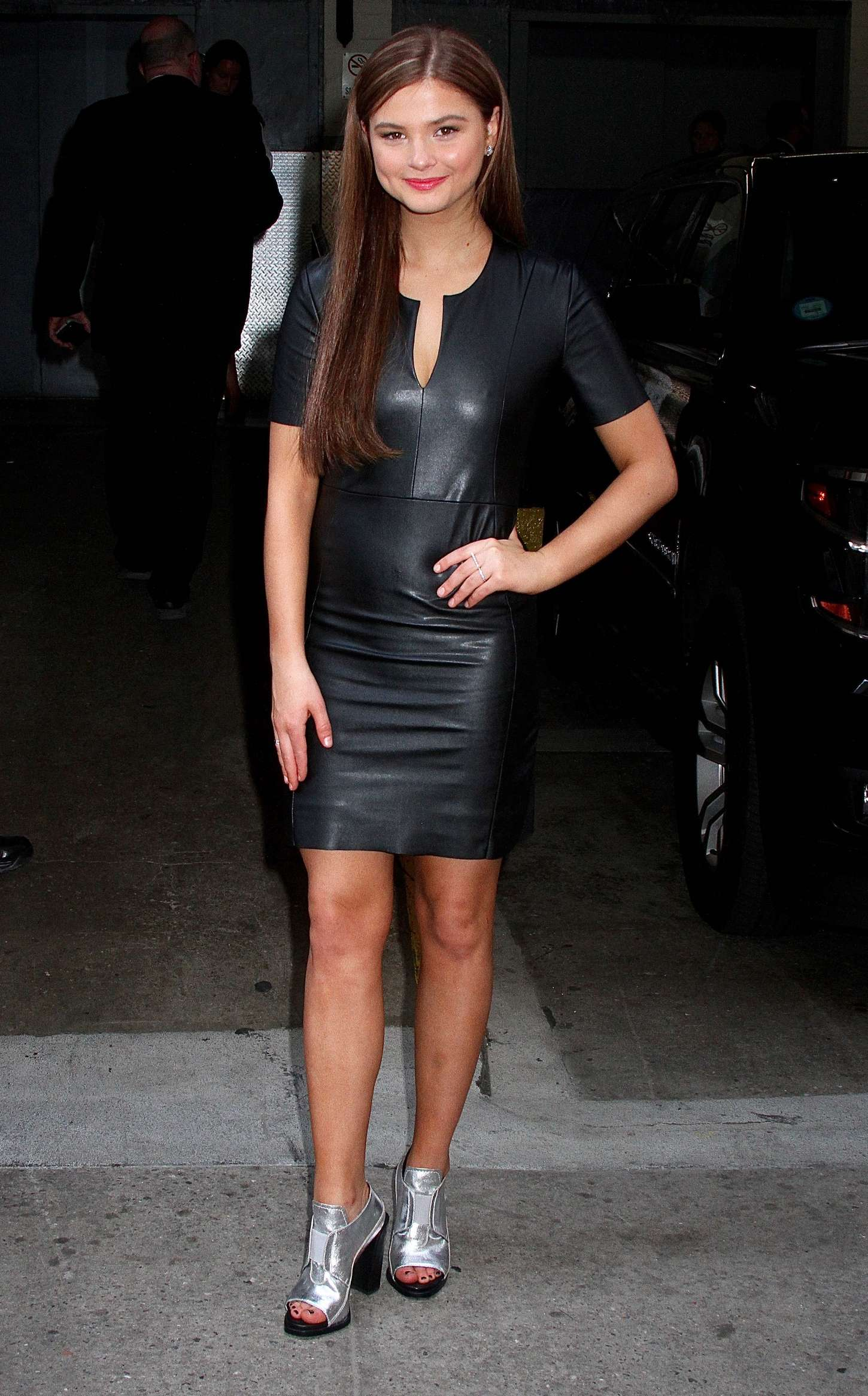 Stefanie Scott In Leather Mini Dress 18 Gotceleb