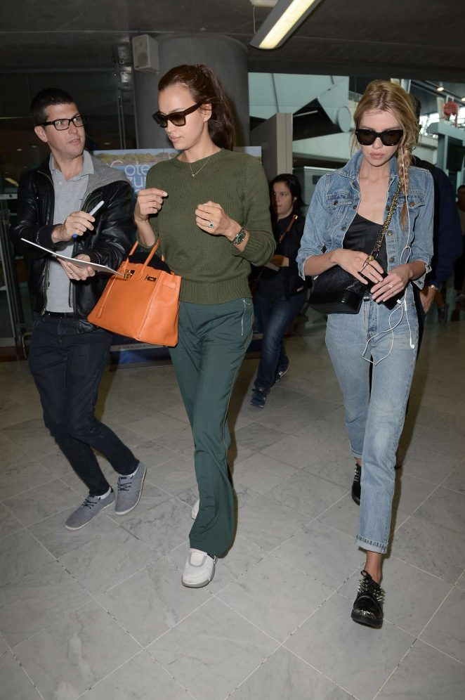 Stella Maxwell and Irina Shayk - Arriving at Nice Airport