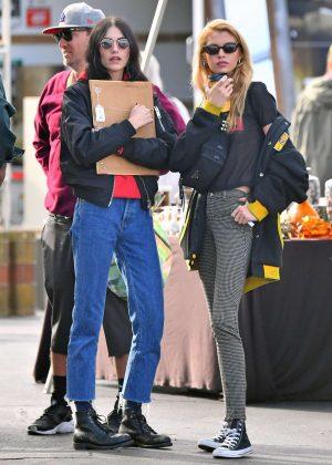Stella Maxwell and Langley Fox at the Rosebowl Flea Market in Pasadena