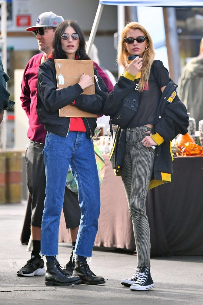 Stella Maxwell and Langley Fox at the Rosebowl Flea Market in Pasadena