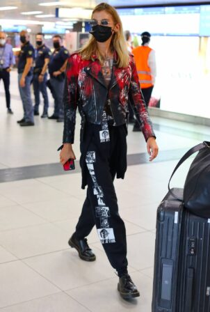 Stella Maxwell - In a black leather jacket as she arrives in Milan