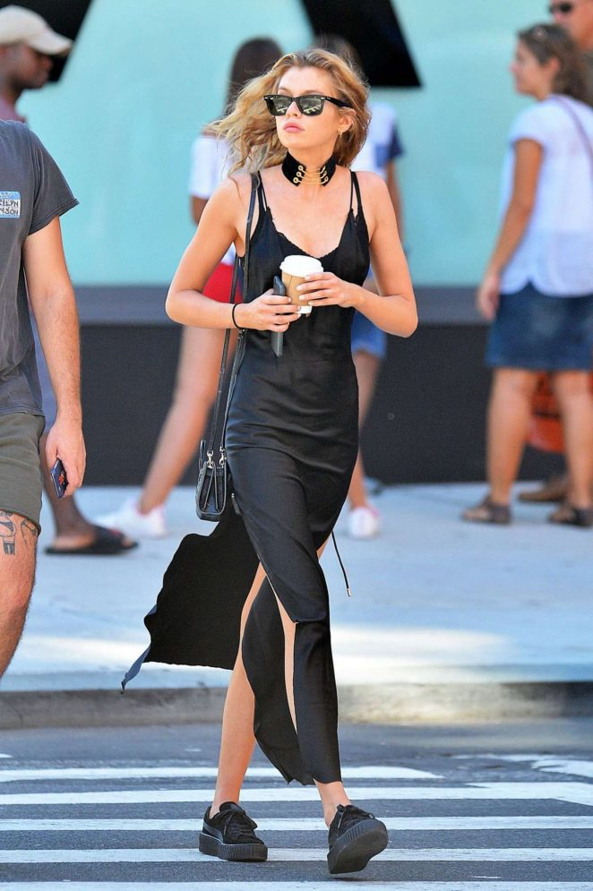 Stella Maxwell in Black Dress Out in New York