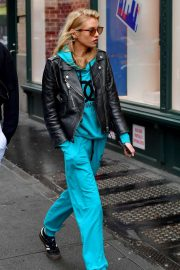 Stella Maxwell in Leather Jacket and Tracksuit - Out in New York City