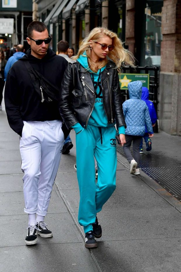 Stella Maxwell in Leather Jacket and Tracksuit -08