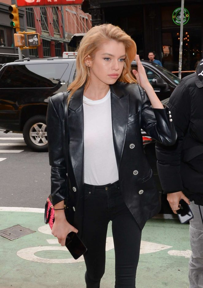Stella Maxwell in Leather Jacket out in NY