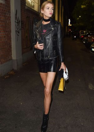 Stella Maxwell in Short Leather Skirt -19 - GotCeleb