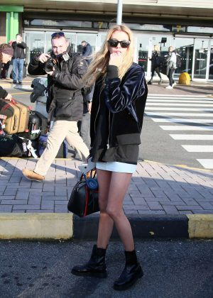 Stella Maxwell in Short Skirt Arrives in Milan