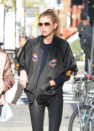 Stella Maxwell in Tights out in East Village