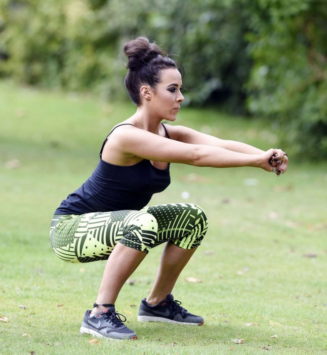 Stephanie Davis in Tights Workout at a park in Manchester