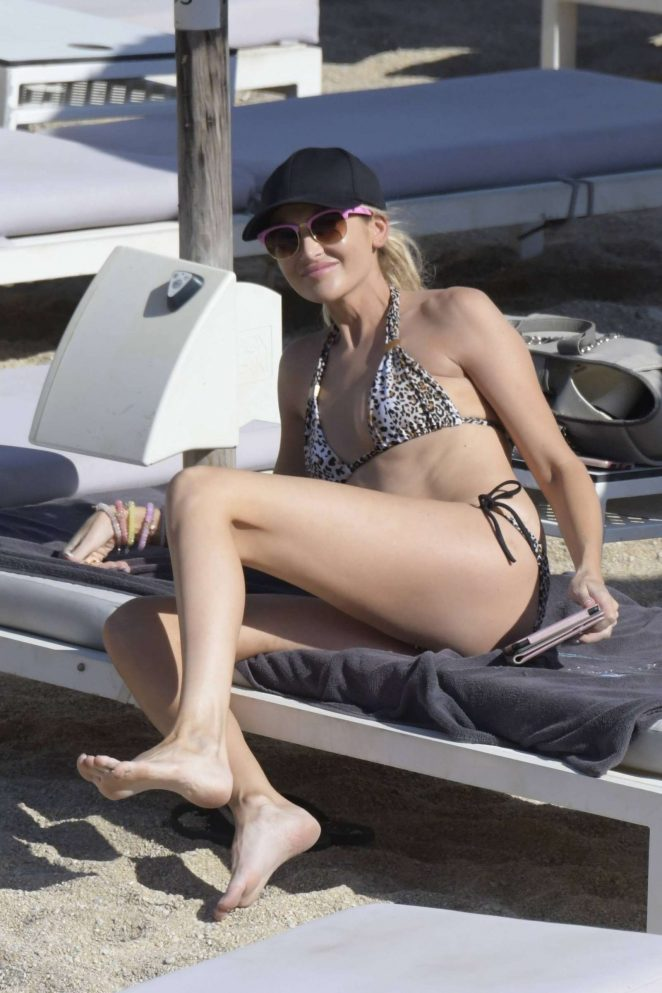 Stephanie Pratt in Animal Print Bikini in Mykonos