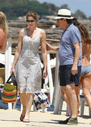 Stephanie Seymour and Peter Brant Leaving Club 55 Beach in Saint Tropez