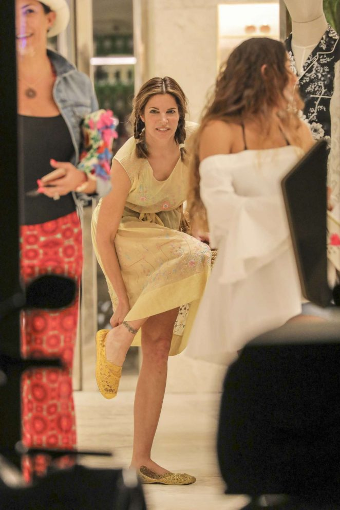 Stephanie Seymour - Shopping at Dolce & Gabbana Store in ...