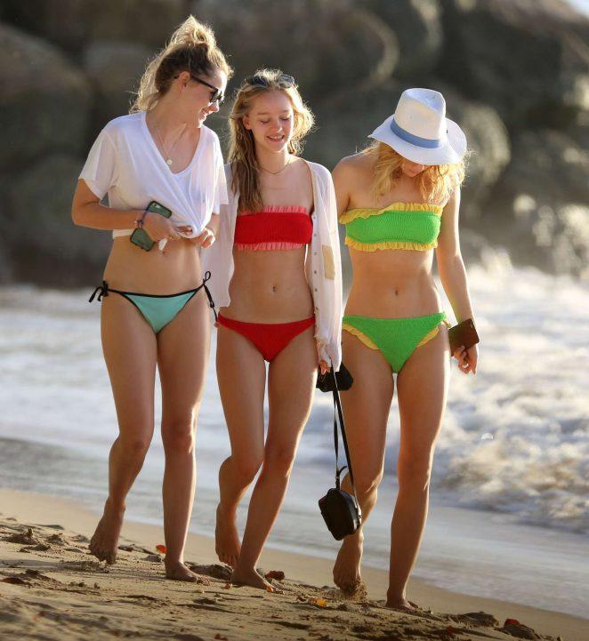 Suki, Immy and Maddi Waterhouse in Bikini at the beach in Barbados