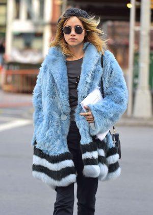 Suki Waterhouse in Blue Fur Coat out in Soho