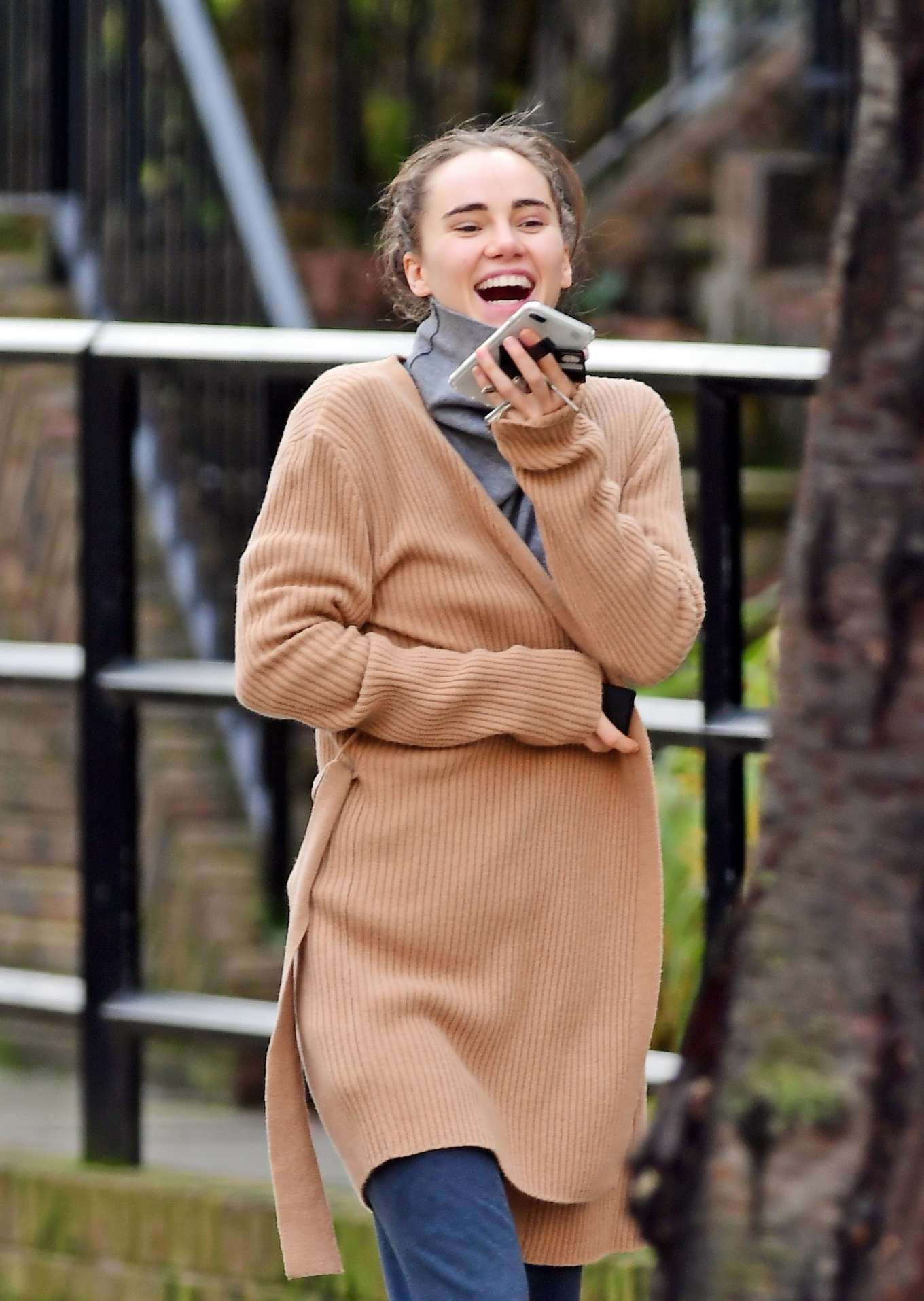 Suki Waterhouse in Brown Sweater - Out in London