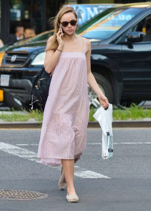 Suki Waterhouse in Long Dress out in NYC